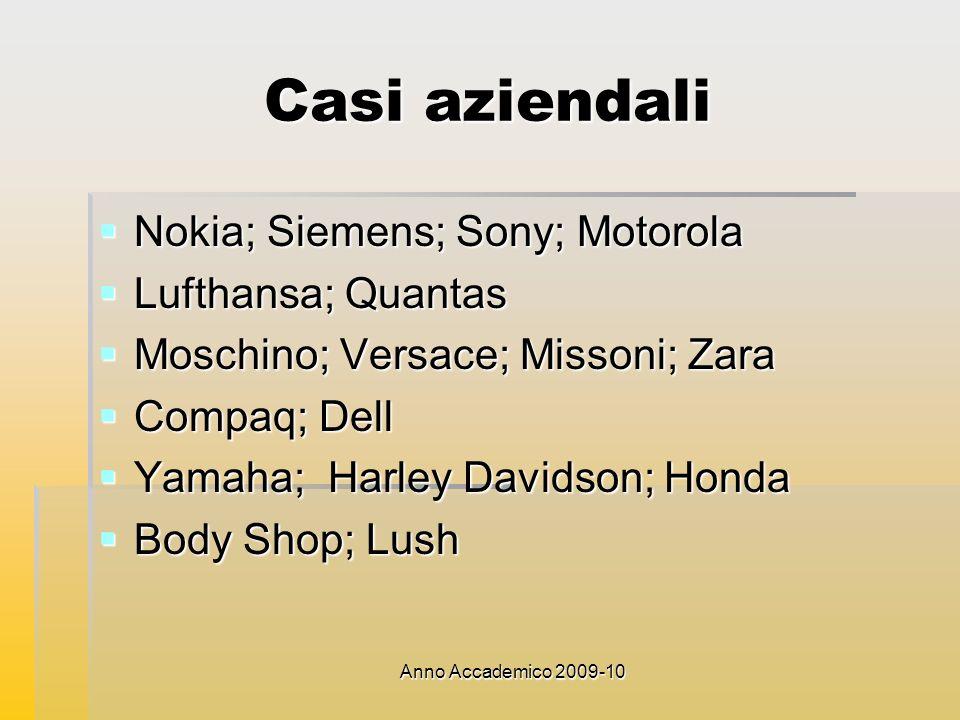 Anno Accademico 2009-10 Casi aziendali Nokia; Siemens; Sony; Motorola Nokia; Siemens; Sony; Motorola Lufthansa; Quantas Lufthansa; Quantas Moschino; V