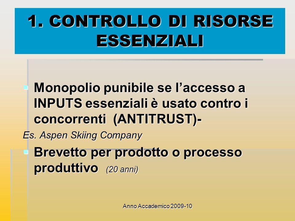 Anno Accademico 2009-10 1. CONTROLLO DI RISORSE ESSENZIALI Monopolio punibile se laccesso a INPUTS essenziali è usato contro i concorrenti (ANTITRUST)