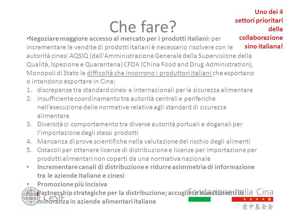 Che fare? Negoziare maggiore accesso al mercato per i prodotti italiani: per incrementare le vendite di prodotti italiani è necessario risolvere con l