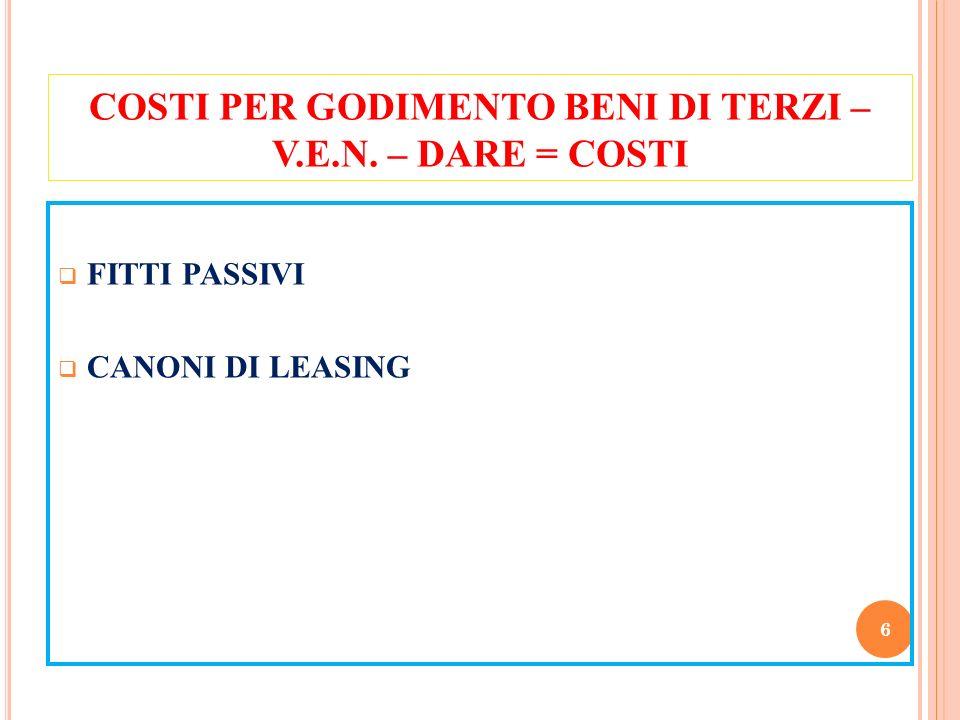 COSTI PER GODIMENTO BENI DI TERZI – V.E.N. – DARE = COSTI FITTI PASSIVI CANONI DI LEASING 6
