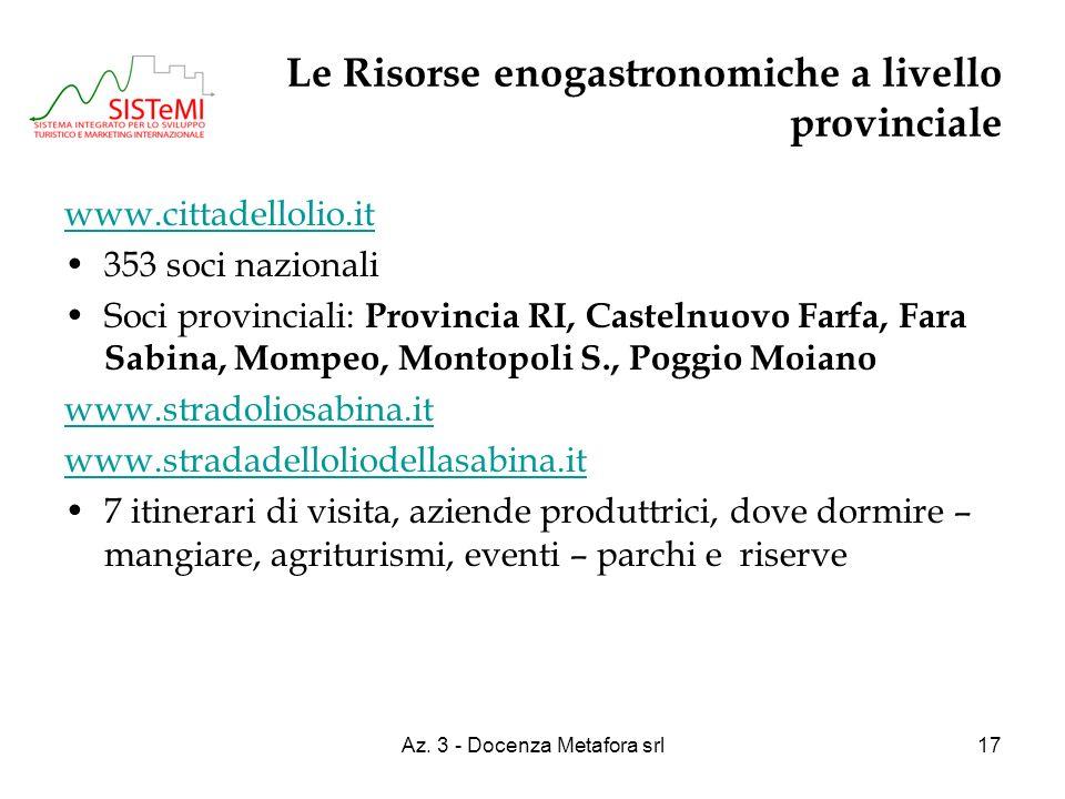 Az. 3 - Docenza Metafora srl17 Le Risorse enogastronomiche a livello provinciale www.cittadellolio.it 353 soci nazionali Soci provinciali: Provincia R
