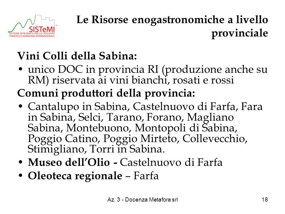 Az. 3 - Docenza Metafora srl18 Le Risorse enogastronomiche a livello provinciale Vini Colli della Sabina: unico DOC in provincia RI (produzione anche