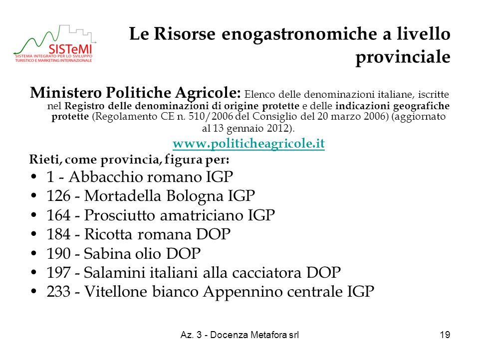 Az. 3 - Docenza Metafora srl19 Le Risorse enogastronomiche a livello provinciale Ministero Politiche Agricole: Elenco delle denominazioni italiane, is