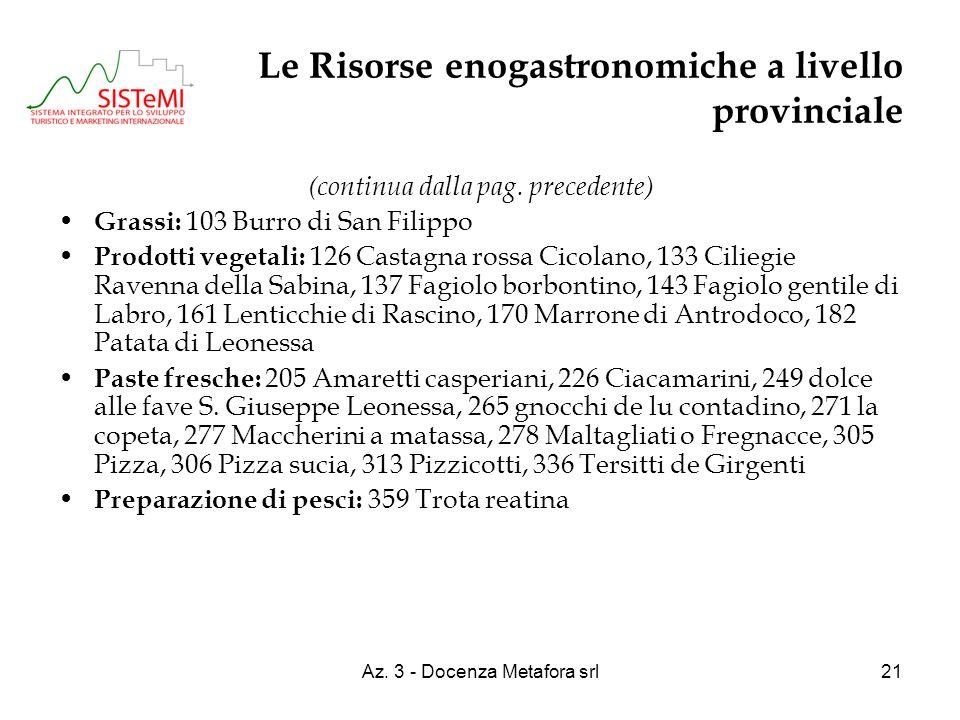 Az. 3 - Docenza Metafora srl21 Le Risorse enogastronomiche a livello provinciale (continua dalla pag. precedente) Grassi: 103 Burro di San Filippo Pro