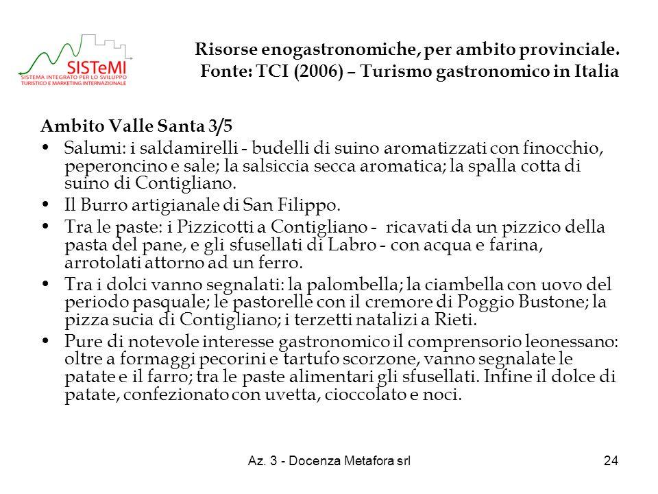 Az. 3 - Docenza Metafora srl24 Risorse enogastronomiche, per ambito provinciale. Fonte: TCI (2006) – Turismo gastronomico in Italia Ambito Valle Santa