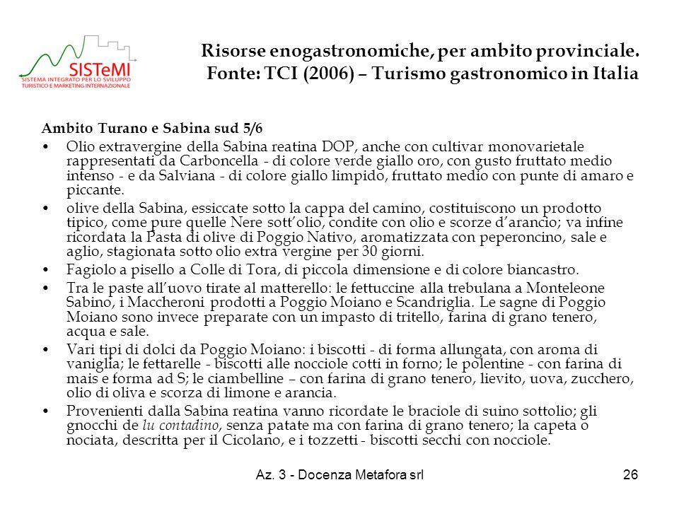 Az. 3 - Docenza Metafora srl26 Risorse enogastronomiche, per ambito provinciale. Fonte: TCI (2006) – Turismo gastronomico in Italia Ambito Turano e Sa