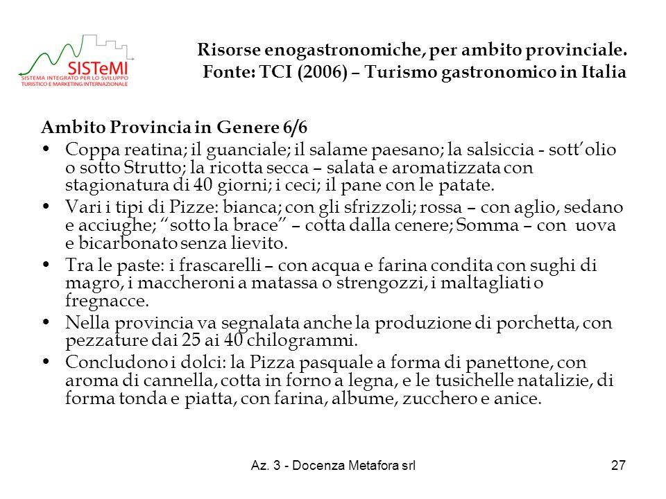 Az. 3 - Docenza Metafora srl27 Risorse enogastronomiche, per ambito provinciale. Fonte: TCI (2006) – Turismo gastronomico in Italia Ambito Provincia i