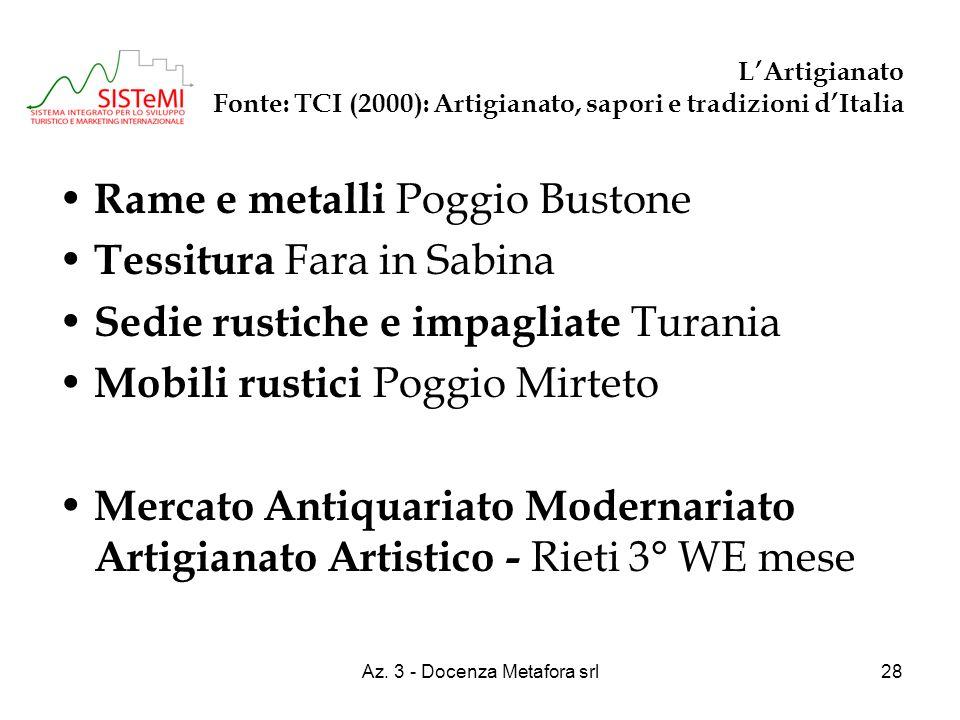 Az. 3 - Docenza Metafora srl28 LArtigianato Fonte: TCI (2000): Artigianato, sapori e tradizioni dItalia Rame e metalli Poggio Bustone Tessitura Fara i
