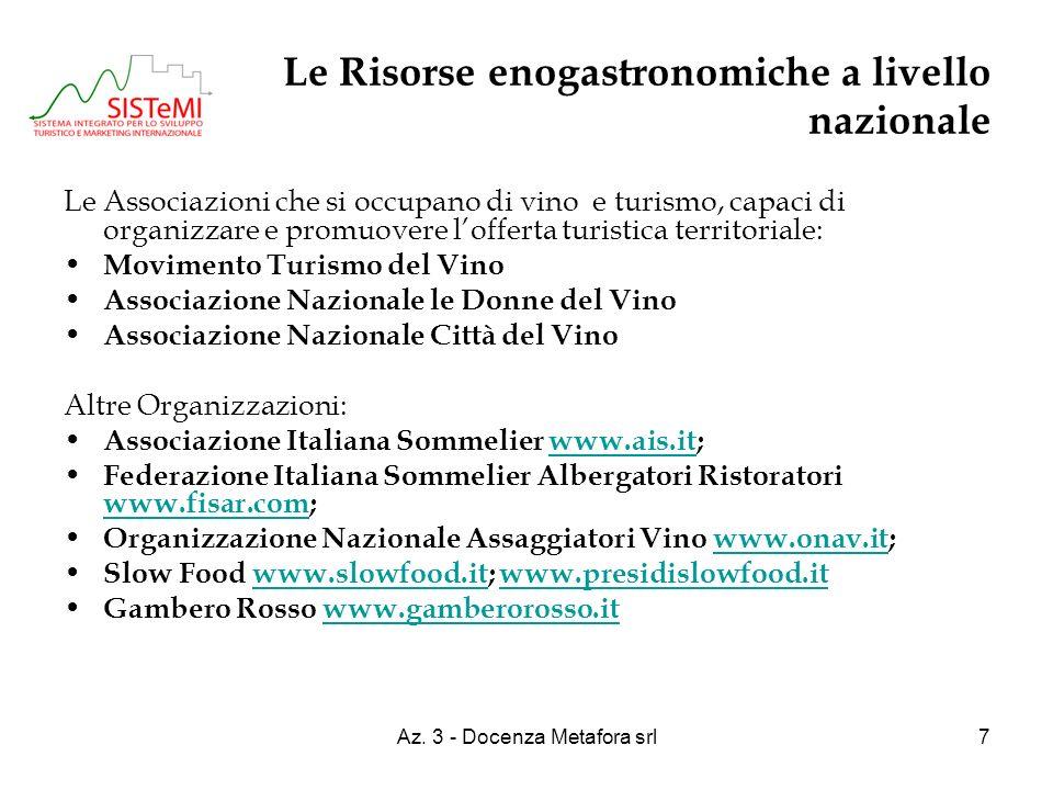 Az. 3 - Docenza Metafora srl7 Le Risorse enogastronomiche a livello nazionale Le Associazioni che si occupano di vino e turismo, capaci di organizzare