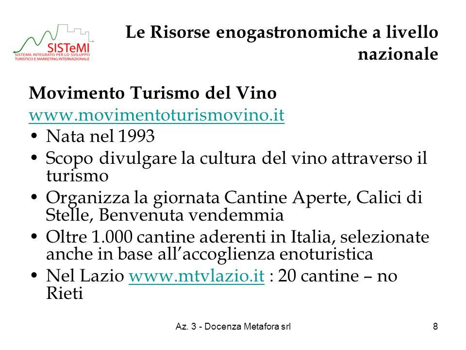 Az. 3 - Docenza Metafora srl8 Le Risorse enogastronomiche a livello nazionale Movimento Turismo del Vino www.movimentoturismovino.it Nata nel 1993 Sco