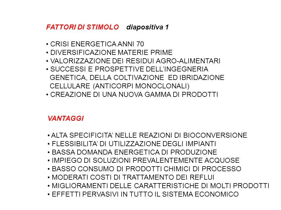 FATTORI DI STIMOLO diapositiva 1 CRISI ENERGETICA ANNI 70 DIVERSIFICAZIONE MATERIE PRIME VALORIZZAZIONE DEI RESIDUI AGRO-ALIMENTARI SUCCESSI E PROSPET