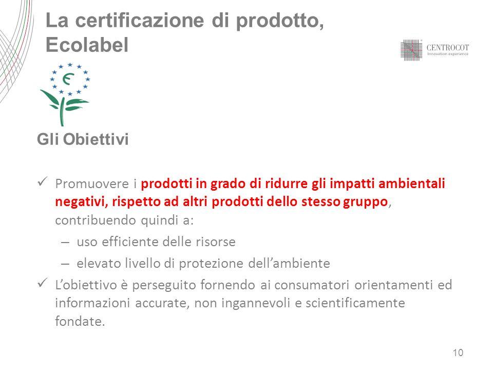 La certificazione di prodotto, Ecolabel Gli Obiettivi Promuovere i prodotti in grado di ridurre gli impatti ambientali negativi, rispetto ad altri pro