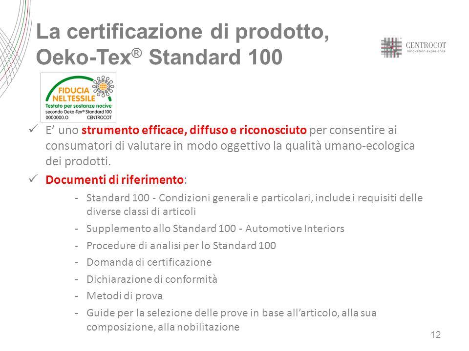 La certificazione di prodotto, Oeko-Tex ® Standard 100 E uno strumento efficace, diffuso e riconosciuto per consentire ai consumatori di valutare in modo oggettivo la qualità umano-ecologica dei prodotti.
