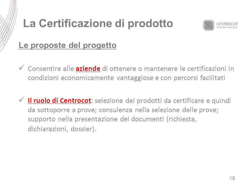 La Certificazione di prodotto Le proposte del progetto Consentire alle aziende di ottenere o mantenere le certificazioni in condizioni economicamente
