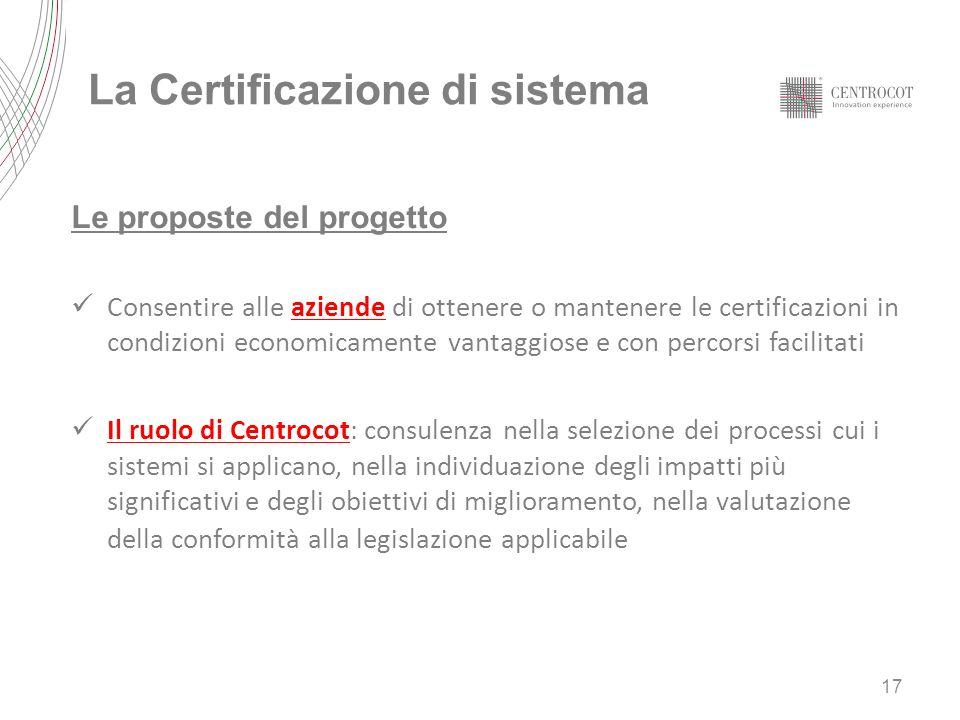 La Certificazione di sistema Le proposte del progetto Consentire alle aziende di ottenere o mantenere le certificazioni in condizioni economicamente v