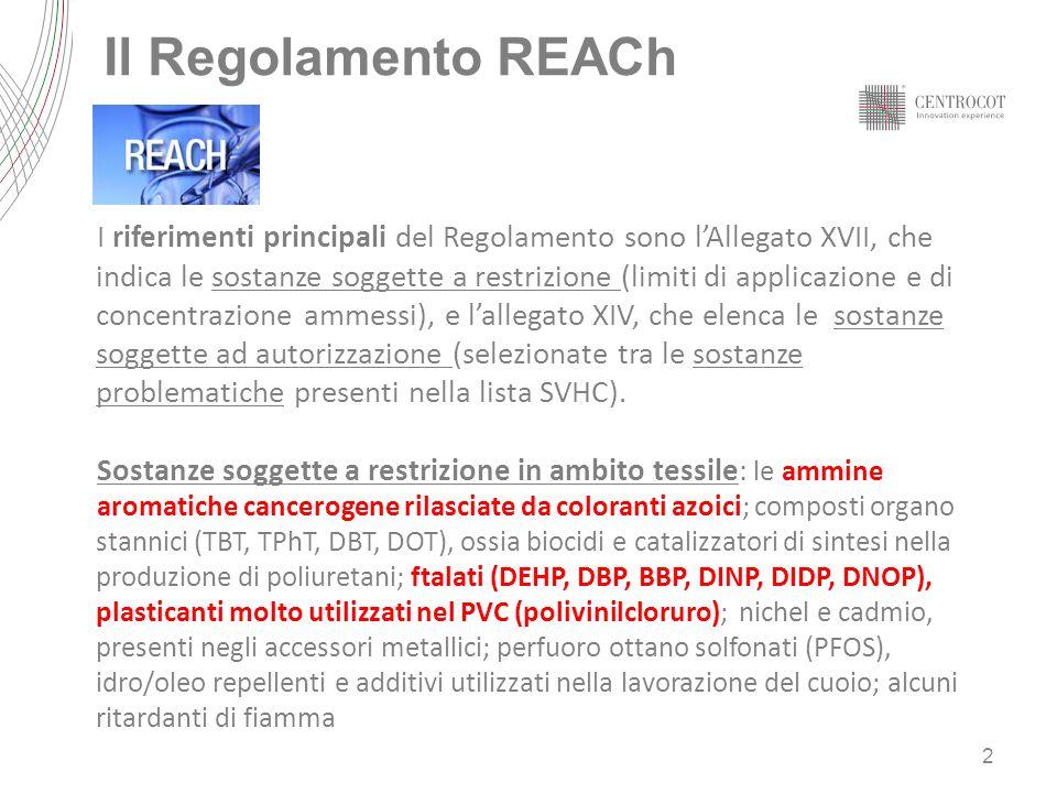 Il Regolamento REACh I riferimenti principali del Regolamento sono lAllegato XVII, che indica le sostanze soggette a restrizione (limiti di applicazio