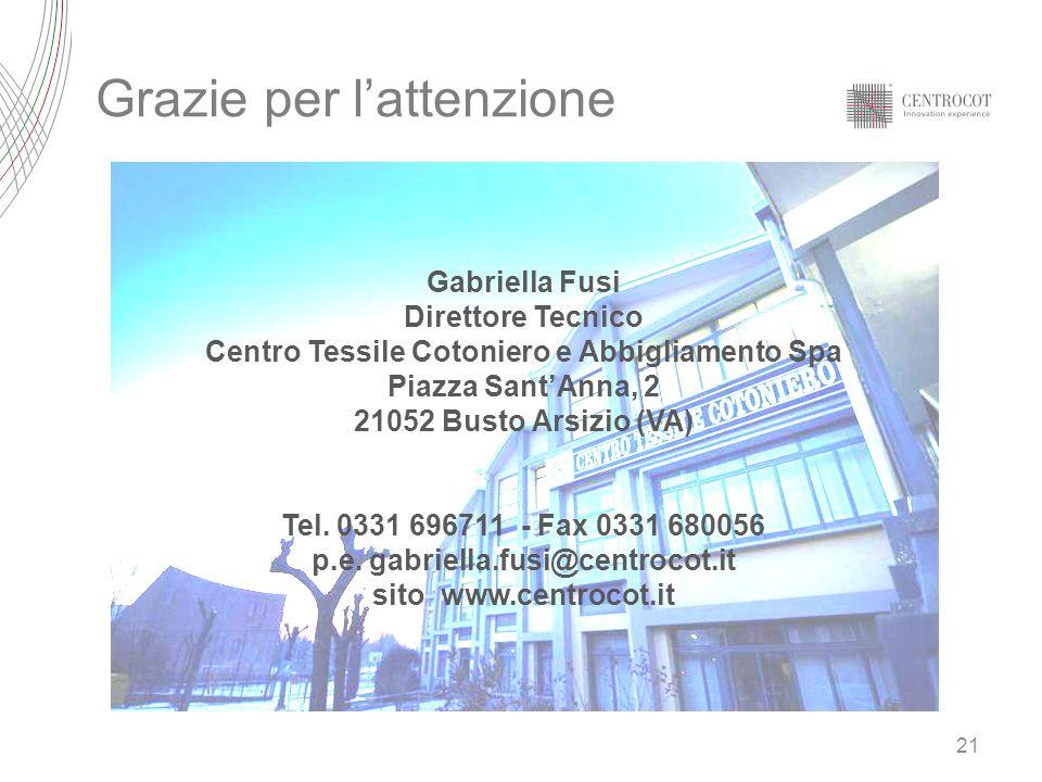 21 Grazie per lattenzione Gabriella Fusi Direttore Tecnico Centro Tessile Cotoniero e Abbigliamento Spa Piazza SantAnna, 2 21052 Busto Arsizio (VA) Te
