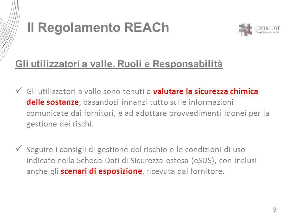Il Regolamento REACh Gli utilizzatori a valle. Ruoli e Responsabilità Gli utilizzatori a valle sono tenuti a valutare la sicurezza chimica delle sosta