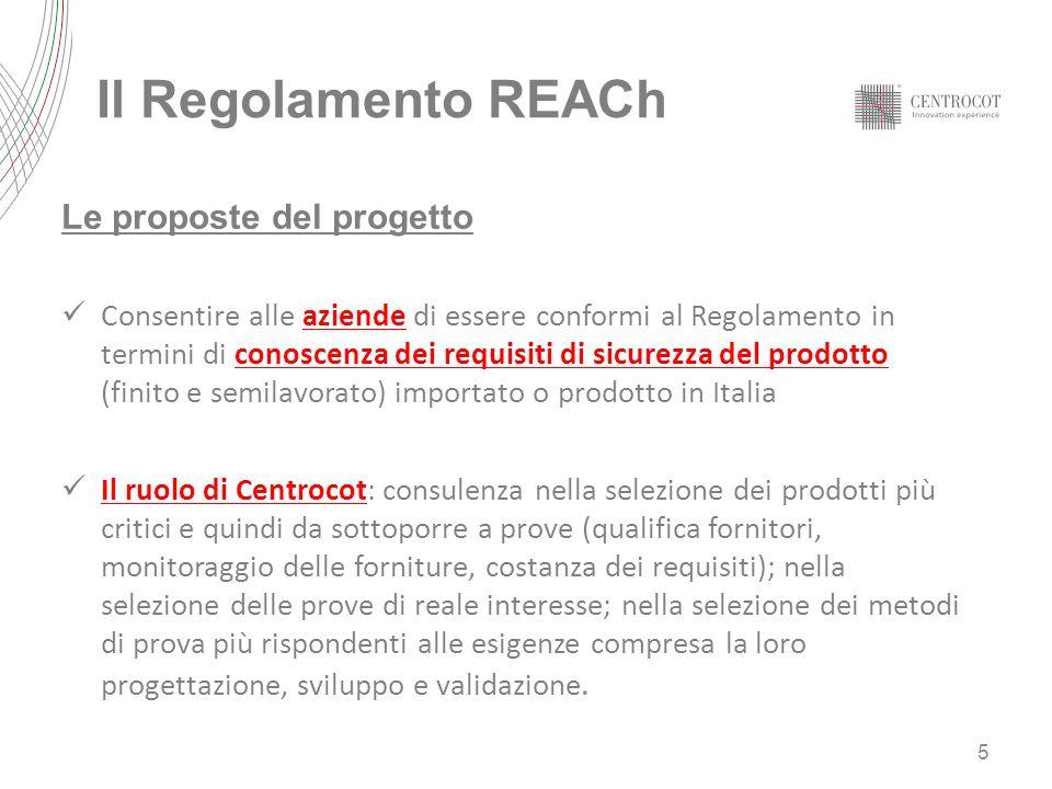 Il Regolamento REACh Le proposte del progetto Consentire alle aziende di essere conformi al Regolamento in termini di conoscenza dei requisiti di sicu