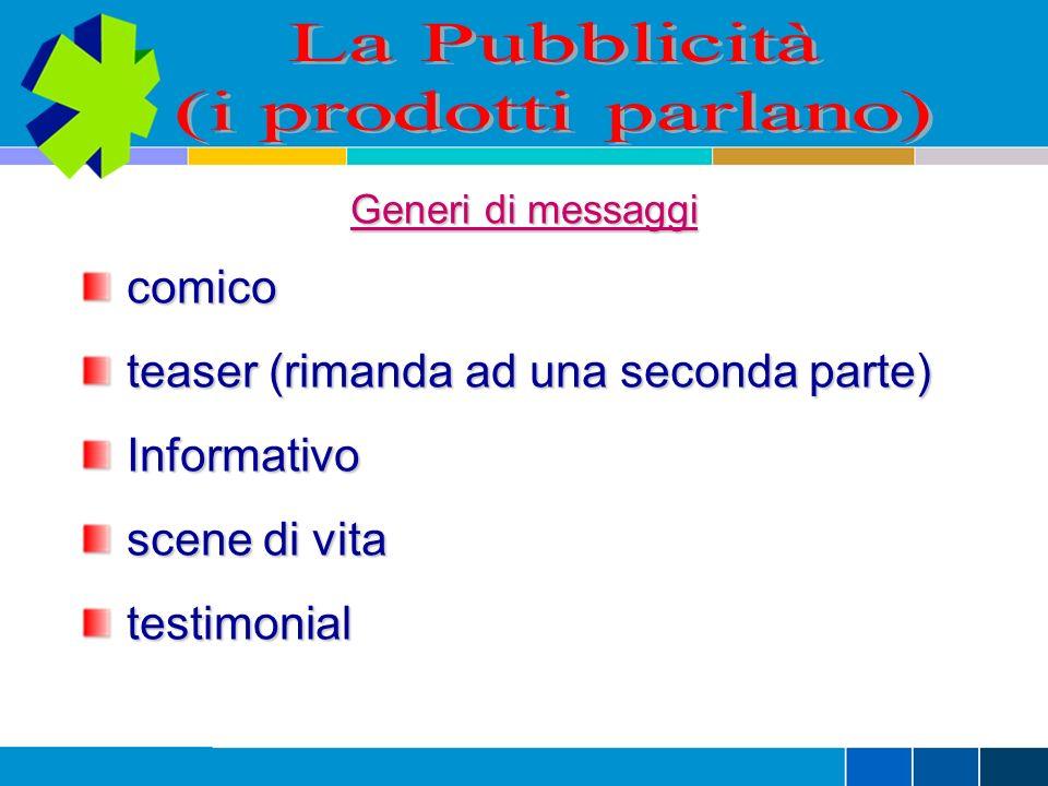 Generi di messaggi comico comico teaser (rimanda ad una seconda parte) teaser (rimanda ad una seconda parte) Informativo Informativo scene di vita scene di vita testimonial testimonial