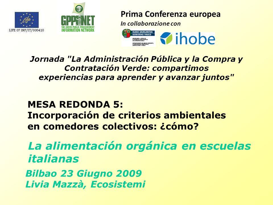 Bilbao 23 Giugno 2009 Livia Mazzà, Ecosistemi MESA REDONDA 5: Incorporación de criterios ambientales en comedores colectivos: ¿cómo.