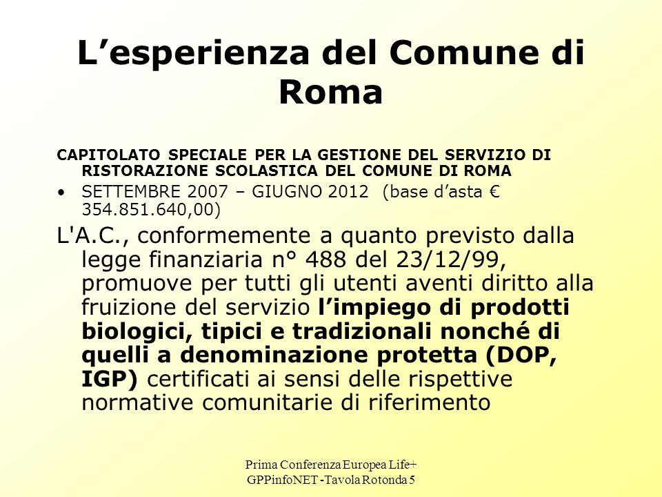 Prima Conferenza Europea Life+ GPPinfoNET -Tavola Rotonda 5 Lesperienza del Comune di Roma CAPITOLATO SPECIALE PER LA GESTIONE DEL SERVIZIO DI RISTORAZIONE SCOLASTICA DEL COMUNE DI ROMA SETTEMBRE 2007 – GIUGNO 2012 (base dasta 354.851.640,00) L A.C., conformemente a quanto previsto dalla legge finanziaria n° 488 del 23/12/99, promuove per tutti gli utenti aventi diritto alla fruizione del servizio limpiego di prodotti biologici, tipici e tradizionali nonché di quelli a denominazione protetta (DOP, IGP) certificati ai sensi delle rispettive normative comunitarie di riferimento