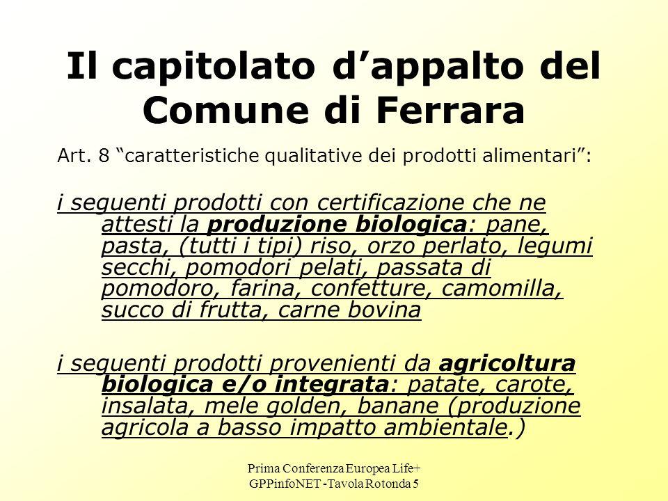 Prima Conferenza Europea Life+ GPPinfoNET -Tavola Rotonda 5 Il capitolato dappalto del Comune di Ferrara Art.