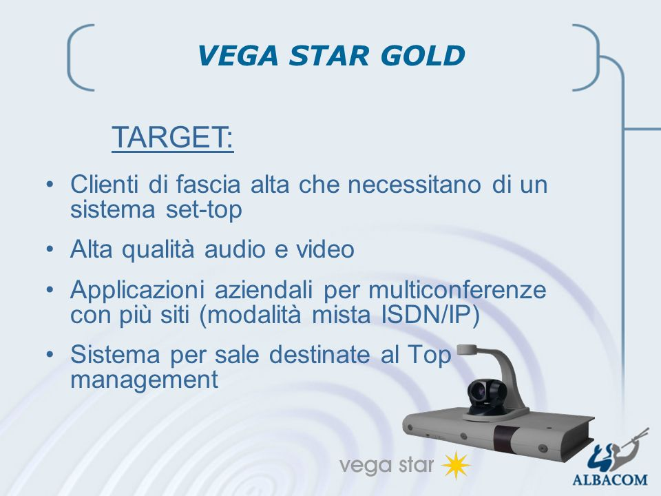2002 Linea Prodotti Audio-Video Clienti di fascia alta che necessitano di un sistema set-top Alta qualità audio e video Applicazioni aziendali per mul