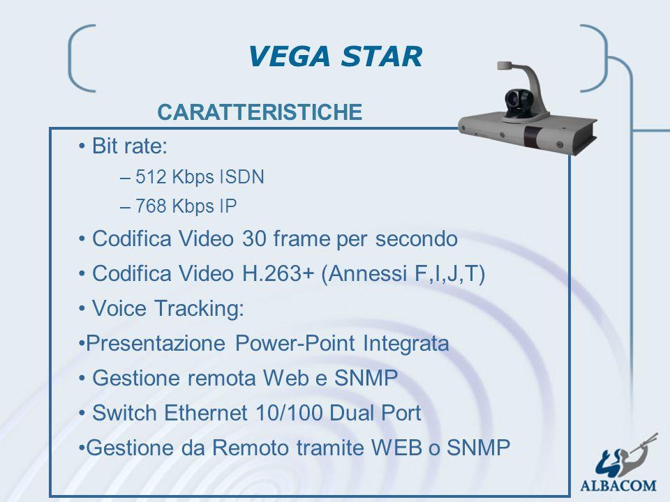 2002 Linea Prodotti Audio-Video Bit rate: –512 Kbps ISDN –768 Kbps IP Codifica Video 30 frame per secondo Codifica Video H.263+ (Annessi F,I,J,T) Voic