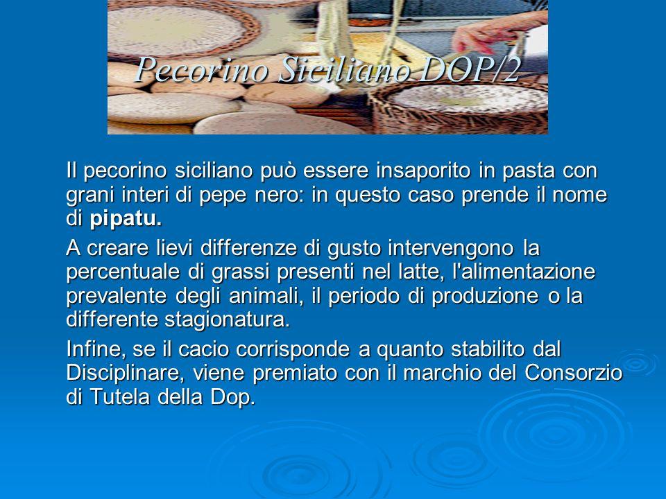 Pecorino Siciliano DOP/2 Il pecorino siciliano può essere insaporito in pasta con grani interi di pepe nero: in questo caso prende il nome di pipatu.