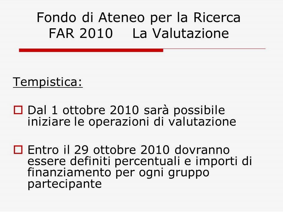 Fondo di Ateneo per la Ricerca FAR 2010 La Valutazione Tempistica: Dal 1 ottobre 2010 sarà possibile iniziare le operazioni di valutazione Entro il 29