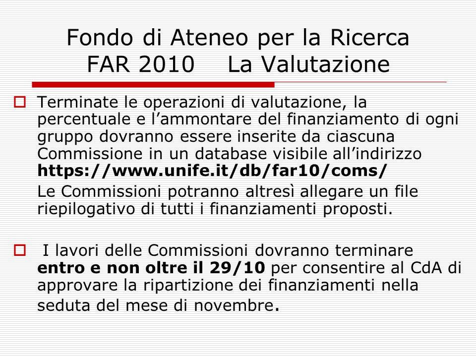 Fondo di Ateneo per la Ricerca FAR 2010 La Valutazione Terminate le operazioni di valutazione, la percentuale e lammontare del finanziamento di ogni g
