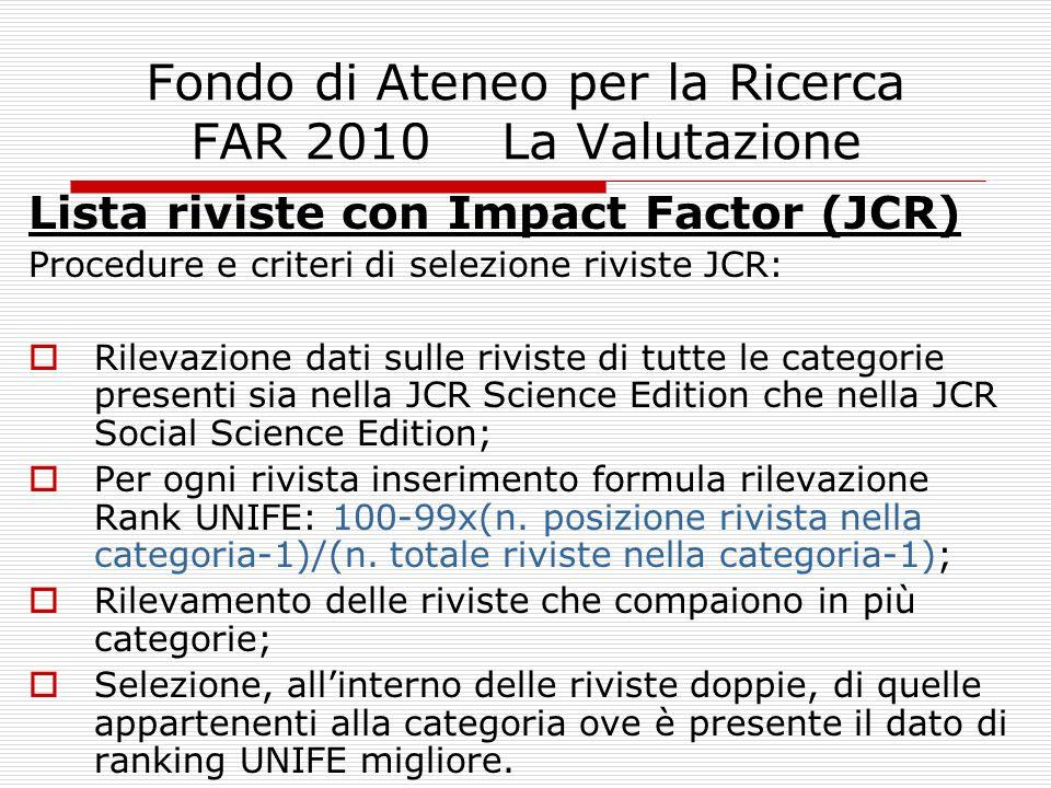 Fondo di Ateneo per la Ricerca FAR 2010 La Valutazione Lista riviste con Impact Factor (JCR) Procedure e criteri di selezione riviste JCR: Rilevazione