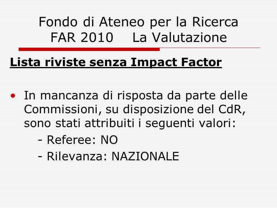 Fondo di Ateneo per la Ricerca FAR 2010 La Valutazione Lista riviste senza Impact Factor In mancanza di risposta da parte delle Commissioni, su dispos