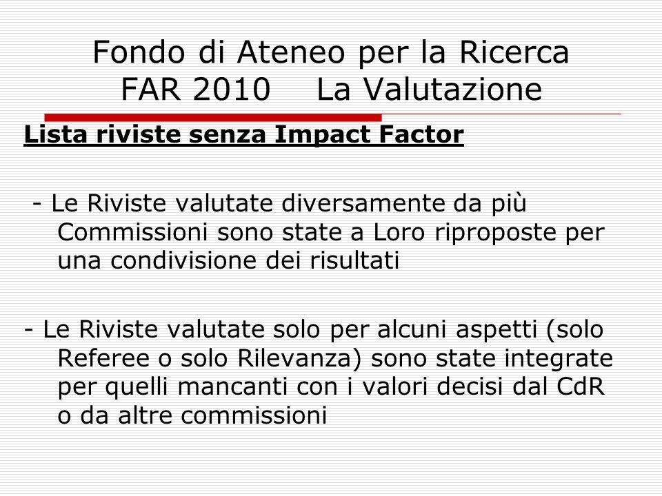Fondo di Ateneo per la Ricerca FAR 2010 La Valutazione Lista riviste senza Impact Factor - Le Riviste valutate diversamente da più Commissioni sono st