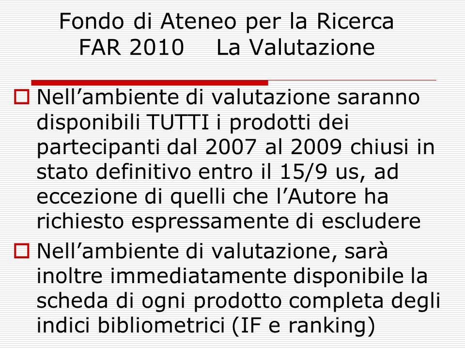 Fondo di Ateneo per la Ricerca FAR 2010 La Valutazione Nellambiente di valutazione saranno disponibili TUTTI i prodotti dei partecipanti dal 2007 al 2