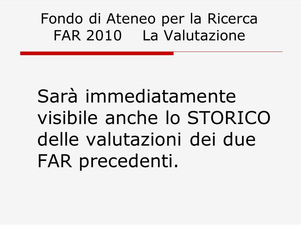 Fondo di Ateneo per la Ricerca FAR 2010 La Valutazione In relazione ai singoli prodotti, il sistema consente di segnalare anomalie di varia natura (come ad es.