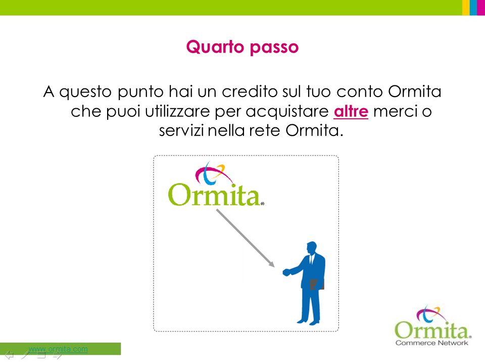 Quarto passo A questo punto hai un credito sul tuo conto Ormita che puoi utilizzare per acquistare altre merci o servizi nella rete Ormita.