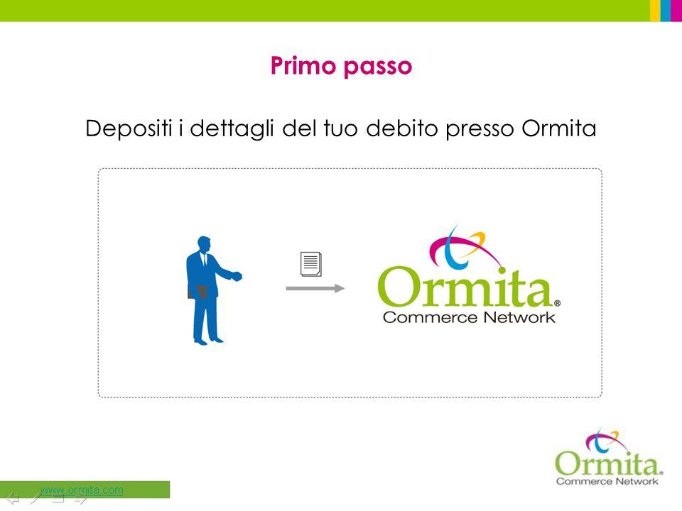 Primo passo Depositi i dettagli del tuo debito presso Ormita