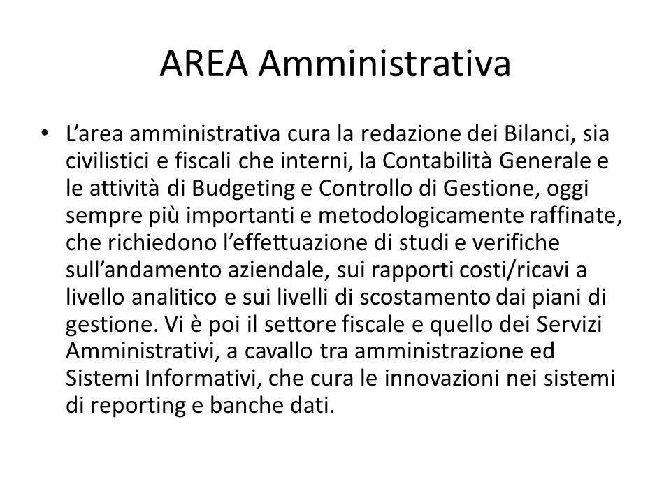 AREA Amministrativa Larea amministrativa cura la redazione dei Bilanci, sia civilistici e fiscali che interni, la Contabilità Generale e le attività d