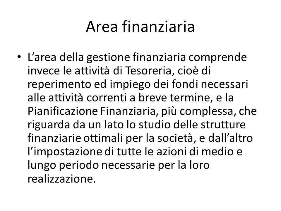 Area finanziaria Larea della gestione finanziaria comprende invece le attività di Tesoreria, cioè di reperimento ed impiego dei fondi necessari alle a