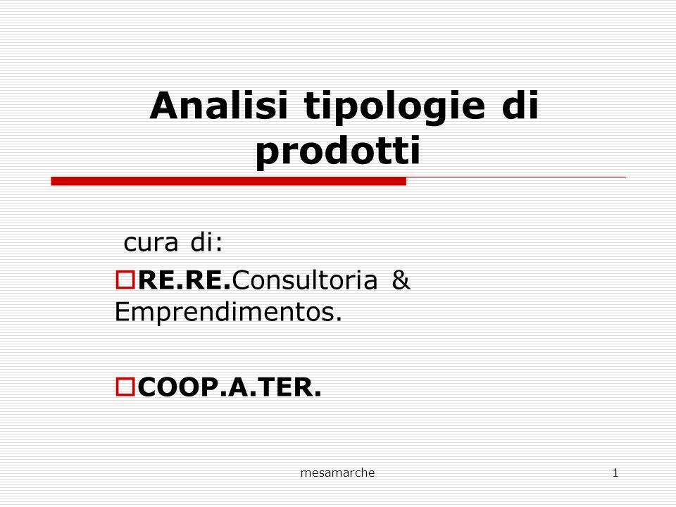 mesamarche1 Analisi tipologie di prodotti cura di: RE.RE.Consultoria & Emprendimentos. COOP.A.TER.