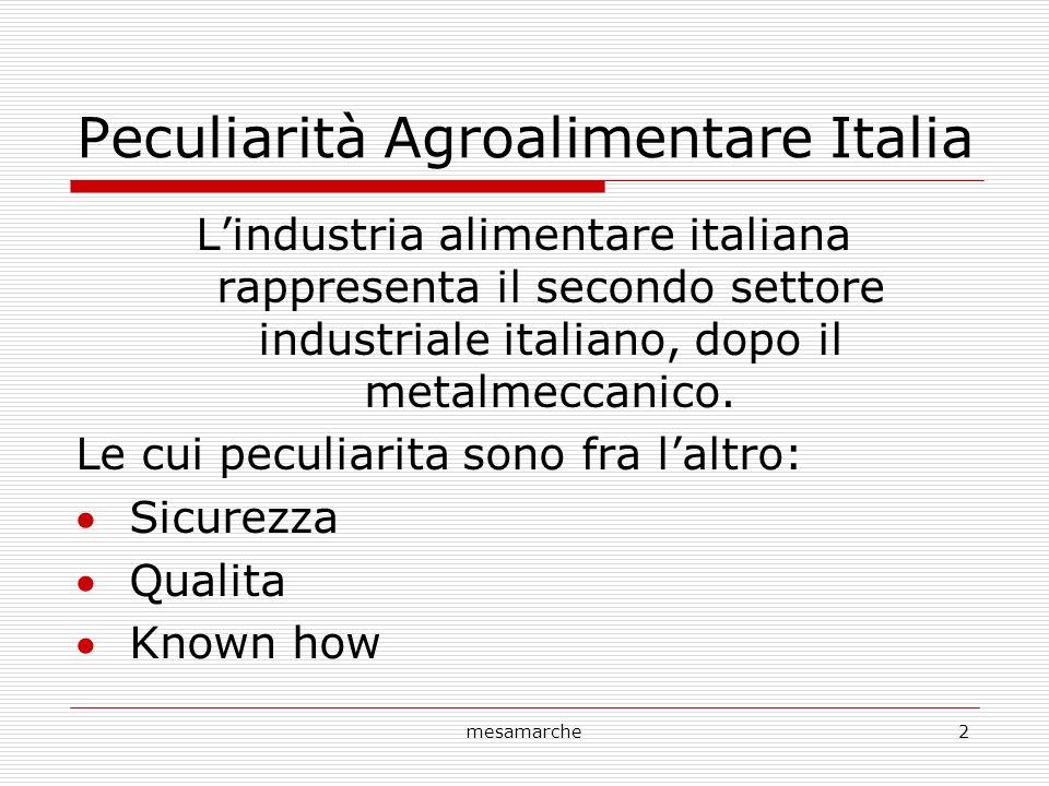 mesamarche2 Peculiarità Agroalimentare Italia Lindustria alimentare italiana rappresenta il secondo settore industriale italiano, dopo il metalmeccanico.