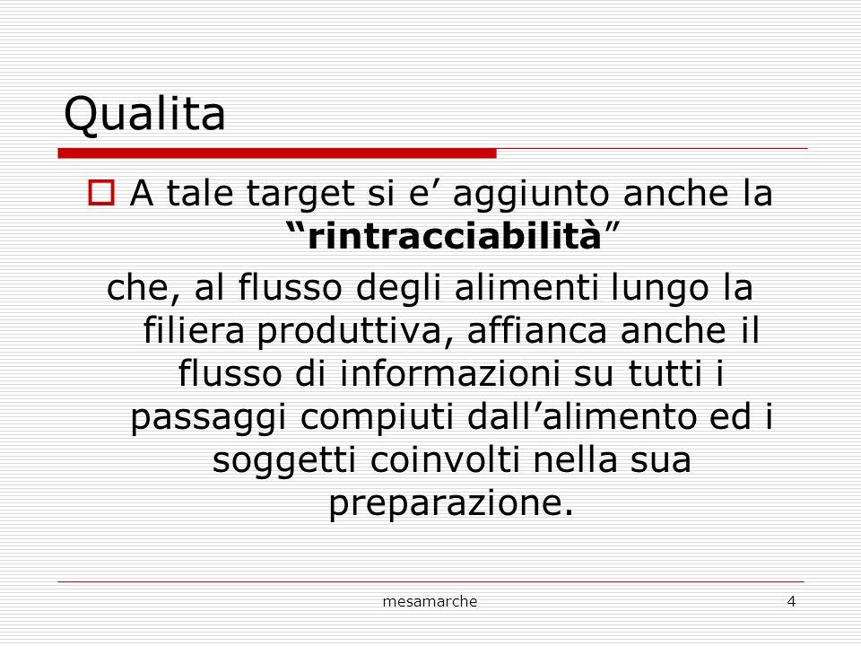 mesamarche4 Qualita A tale target si e aggiunto anche la rintracciabilità che, al flusso degli alimenti lungo la filiera produttiva, affianca anche il