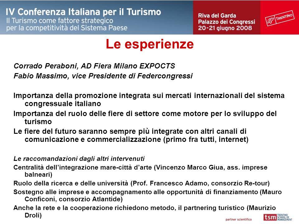 Le esperienze Corrado Peraboni, AD Fiera Milano EXPOCTS Fabio Massimo, vice Presidente di Federcongressi Importanza della promozione integrata sui mer