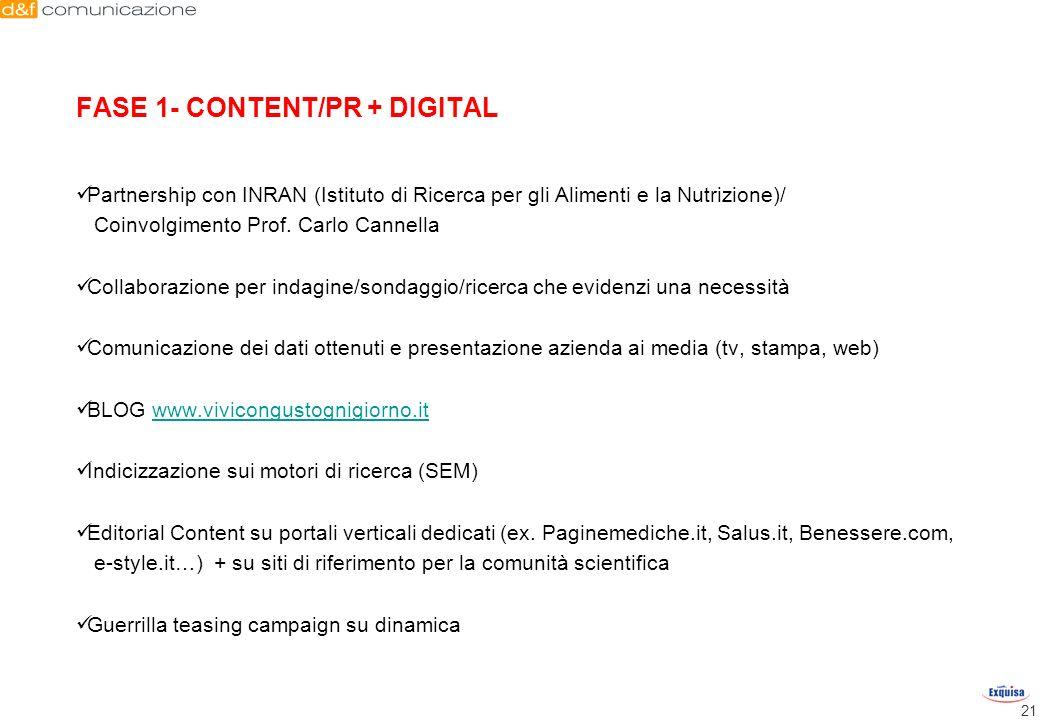 21 Partnership con INRAN (Istituto di Ricerca per gli Alimenti e la Nutrizione)/ Coinvolgimento Prof. Carlo Cannella Collaborazione per indagine/sonda