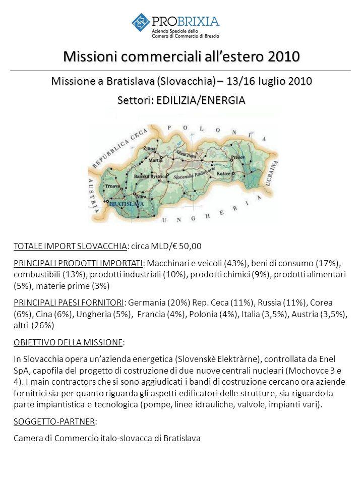 Missione a Bratislava (Slovacchia) – 13/16 luglio 2010 Settori: EDILIZIA/ENERGIA Missioni commerciali allestero 2010 TOTALE IMPORT SLOVACCHIA: circa MLD/ 50,00 PRINCIPALI PRODOTTI IMPORTATI: Macchinari e veicoli (43%), beni di consumo (17%), combustibili (13%), prodotti industriali (10%), prodotti chimici (9%), prodotti alimentari (5%), materie prime (3%) PRINCIPALI PAESI FORNITORI: Germania (20%) Rep.