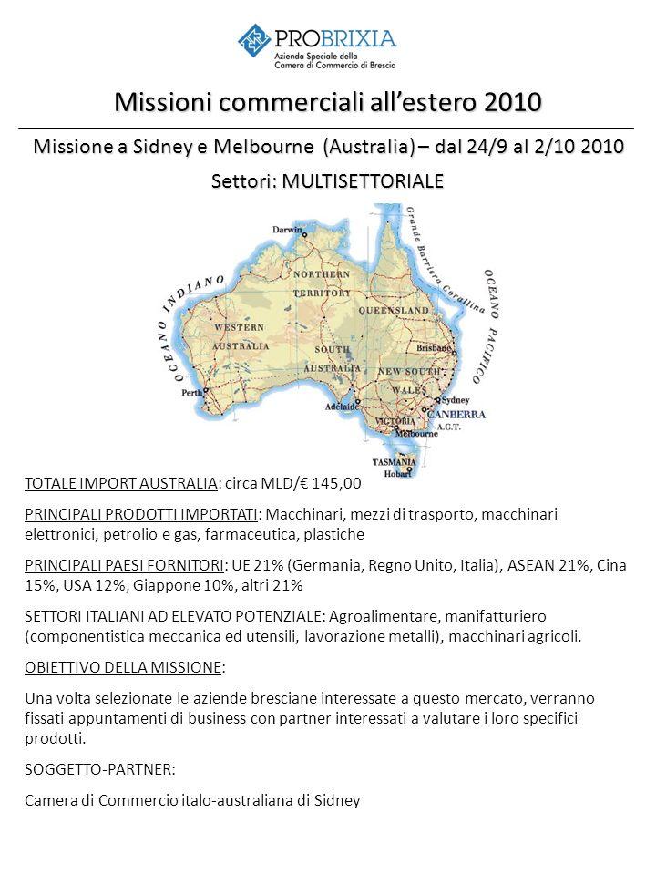 Missione a Sidney e Melbourne (Australia) – dal 24/9 al 2/10 2010 Settori: MULTISETTORIALE Missioni commerciali allestero 2010 TOTALE IMPORT AUSTRALIA: circa MLD/ 145,00 PRINCIPALI PRODOTTI IMPORTATI: Macchinari, mezzi di trasporto, macchinari elettronici, petrolio e gas, farmaceutica, plastiche PRINCIPALI PAESI FORNITORI: UE 21% (Germania, Regno Unito, Italia), ASEAN 21%, Cina 15%, USA 12%, Giappone 10%, altri 21% SETTORI ITALIANI AD ELEVATO POTENZIALE: Agroalimentare, manifatturiero (componentistica meccanica ed utensili, lavorazione metalli), macchinari agricoli.