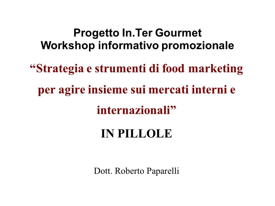 Progetto In.Ter Gourmet Workshop informativo promozionale Strategia e strumenti di food marketing per agire insieme sui mercati interni e internaziona