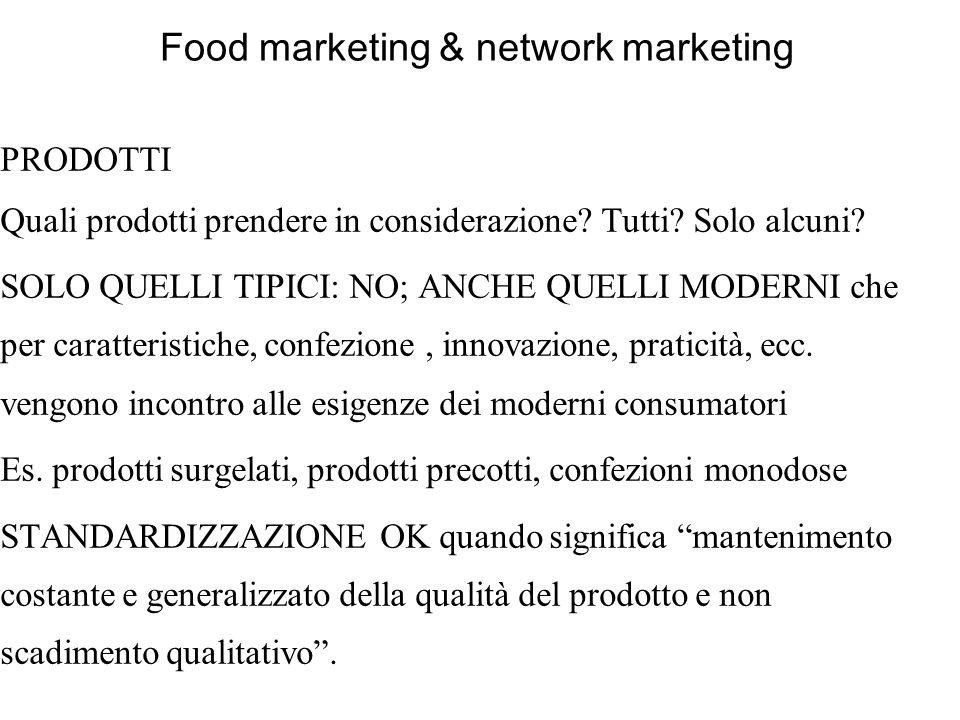 Food marketing & network marketing PRODOTTI Quali prodotti prendere in considerazione? Tutti? Solo alcuni? SOLO QUELLI TIPICI: NO; ANCHE QUELLI MODERN